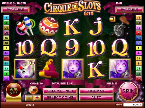 Cirque du Slots videoslot